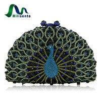 Milisente Peacock Forma Animal Cristalino de Lujo Del Partido Embragues Bolso de Noche de Las Mujeres de la Señora Embrague de La Boda Verde de Plata de Oro