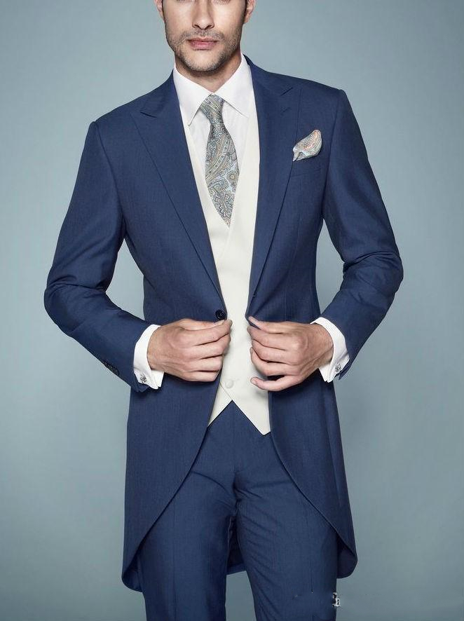 Morning Style One Button Navy Blue Groom Tuxedos Peak Lapel Groomsmen Men Wedding Tuxedos Dinner Mens Suits (Jacket+Pants+Vest)