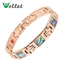 Wollet Jewelry Energy Colorful Shell Magnetic Germanium 5 In 1 Elements Rose Gold Color 316L Stainless Steel Bracelet For Women недорого