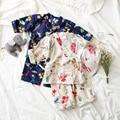 Meninas do bebê Pijamas Meninos Meninas Crianças Pijamas Pijamas Set Japão Estilo Linho pijama garcon sono conjuntos de Pijama Casuais para meninos