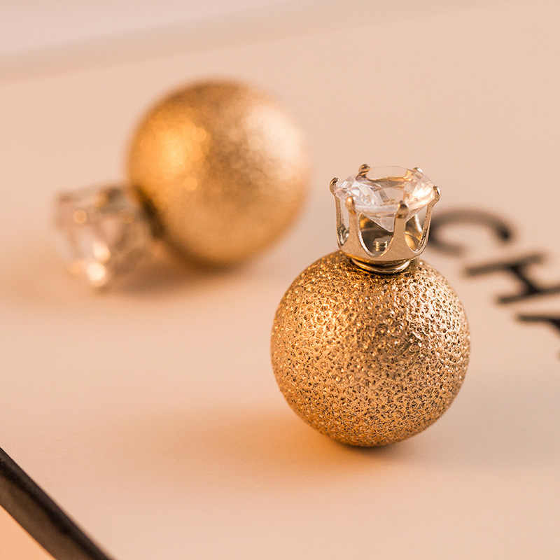 Marca de moda doble cara simulada perla pendientes declaración Color oro circón cristal perno prisionero joyería pendiente boda para mujeres