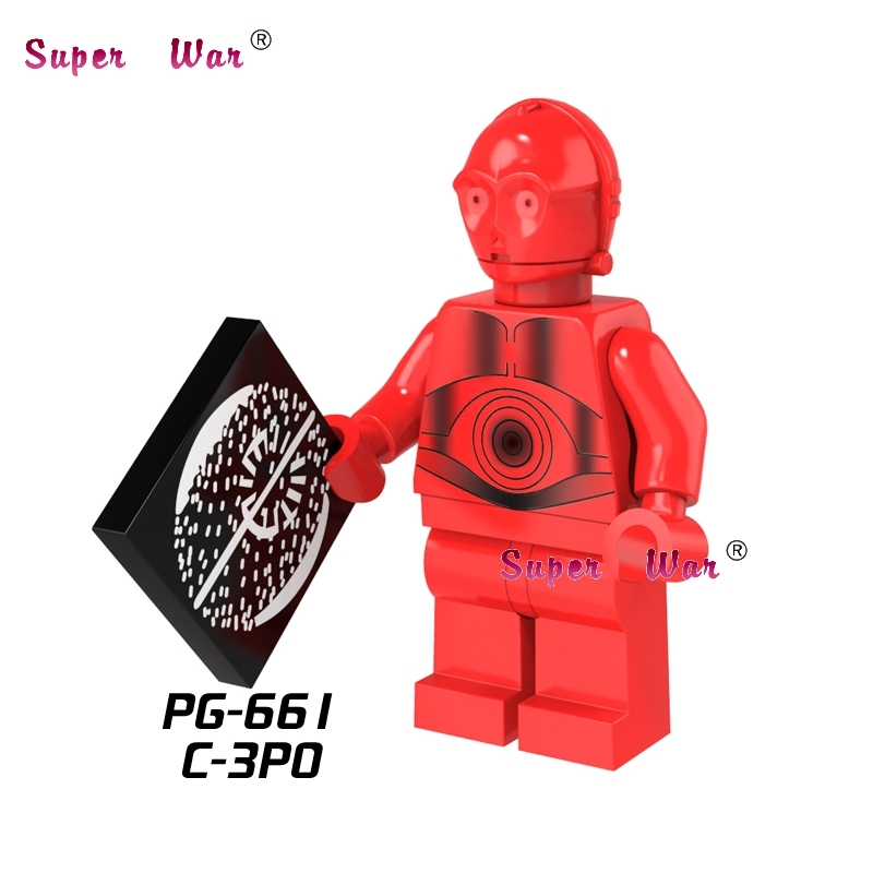 50pcs R 3PO Droid Red C3PO building blocks action bricks friends for girl boy house games