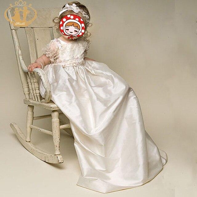 Новое Прибытие Атласная/Кружева Новорожденных Dress Детские Крещение Платья Белый Девочка Крещение Платья с Лентой