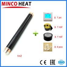 Película de calentamiento infrarroja de 1 metro cuadrado, película de calentamiento de suelo AC220V 50cm x 2 m, juegos de calentadores de habitación con controlador de temperatura