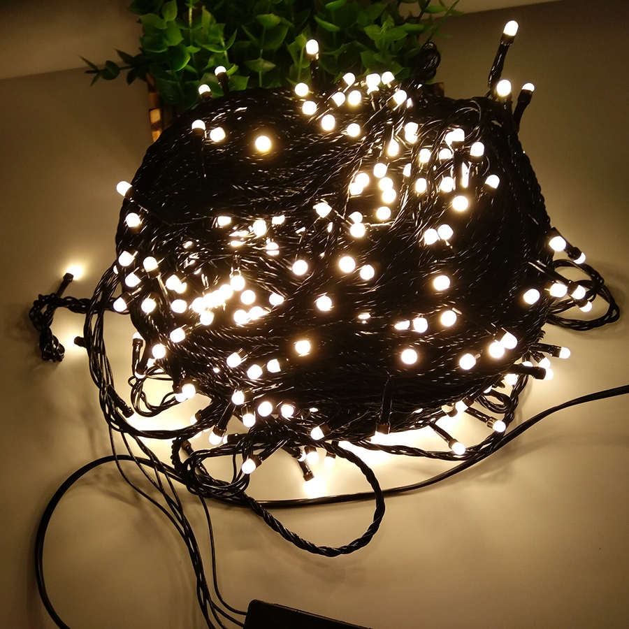 Thrisdar 100M 500LED Black Wire Christmas Fairy LED String Light Garland Outdoor Garden Patio Holiday Xmas Tree Fairy Light