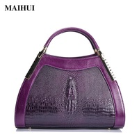 Maihui Women Genuine Leather Handbags High Quality Woman Shoulder Bags Cowhide Top Handle Crocodile Embossed Leather