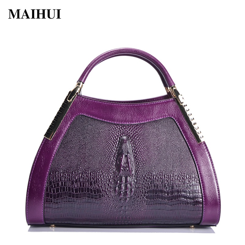Maihui women genuine leather handbags high quality woman shoulder bags cowhide top-handle Crocodile Embossed Leather tote bag