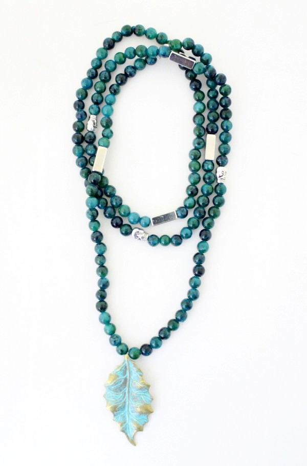 New Designer 6MM green Natural Beaded leaves Pendant Necklace For Women jewelry