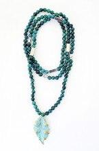 Nuevo Diseñador 6 MM verde Natural hojas de Cuentas Colgante Collar de joyería De Las Mujeres