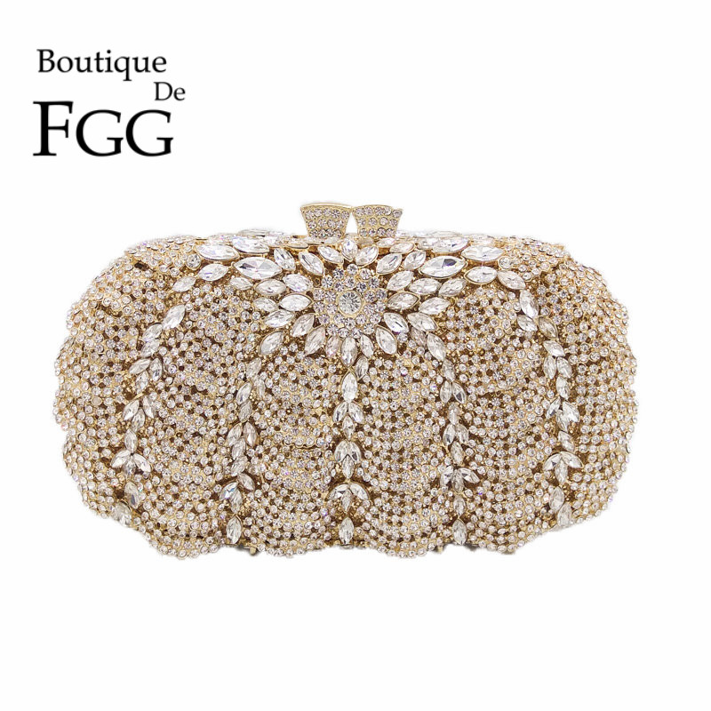 Wedding Party Cocktail Pumpkin Diamond Brides Clear Crystal Clutch Women Gold Evening Bag Clutches Hollow Out Hard Handbag Purse