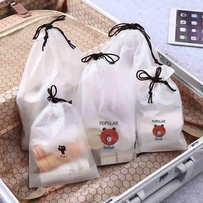 3pcs Travel Accessories Women Casual Transparent Clothes Classified Drawstring Organizers Shoes Packing Luggage Toiletry Kit Bag