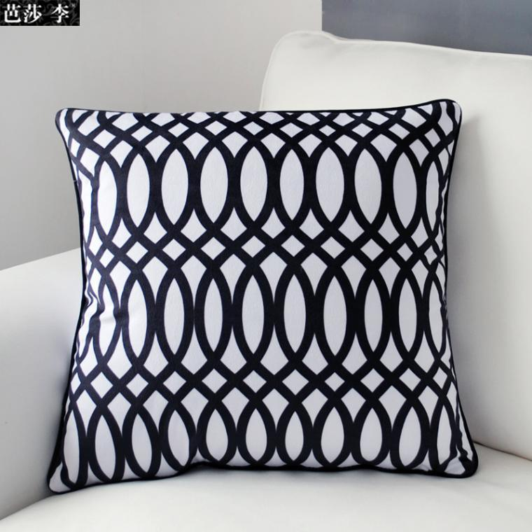 Cushion Cover Pillow Case Black White Geometric Set Clical Print Soft Velour High Quality Comfort Stylish Unique Sofa Ba9 In From Home Garden