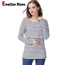 Emotion Moms Striped Maternity t-shirts Maternity tops Nursing Breastfeeding Clothes for pregnant women pregnancy Nursing Tops недорого