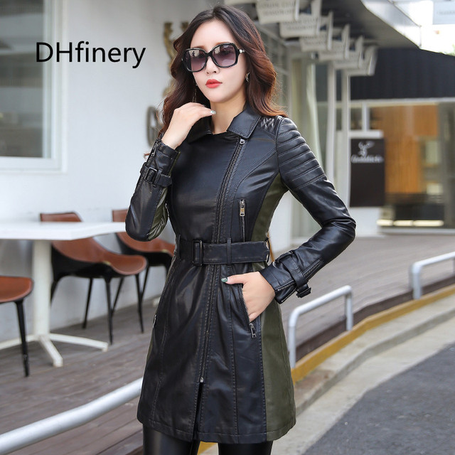 leather jacket women Autumn Winter Faux Leather Jackets Lady Long design Motorcycle Style Lady black green Trench Coat 6707