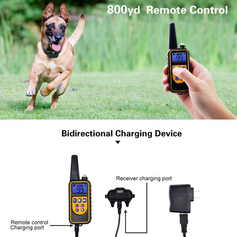 800yd Electric remote Dog Training Collar Waterproof Rechargeable LCD Display for All Size beep Shock Vibration mode 40%off-2