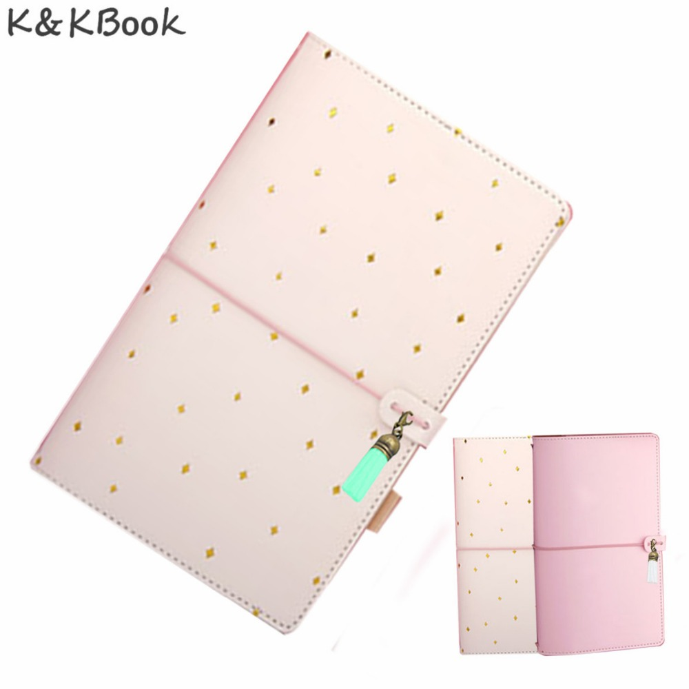 KKBOOK KK004 Kawaii Leather Notebook Travelers Notebook Diary Portable Traveler Journal Dotted Notebook AgendaPlanner Papelaria