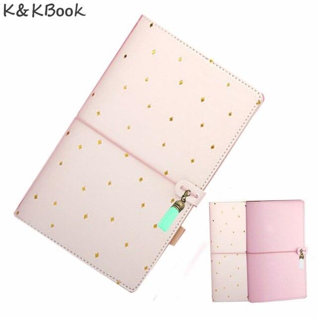 KKBOOK KK004 Kawaii Leather Notebook Travelers Notebook Diary Portable Traveler Journal Dotted Notebook AgendaPlanner Papelaria