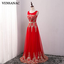 VENSANAC 2018 O Neck Metal Leaf Sash Long A Line Evening Dresses Vintage Tank Lace Crystals Party Tulle Prom Gowns
