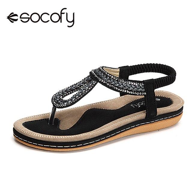 9229d3e548e7 Socofy Rhinestone Knitted Beach Flat Sandals Women Summer Shoes Elastic  Slip On Clip Toe Bohemian Sandals Women Shoes Large Size