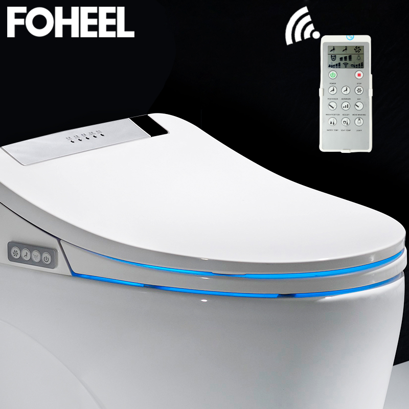 FOHEEL prata ouro tampa assento do vaso sanitário inteligente eletrônico bidé limpo e seco aquecimento do assento wc tampa de assento do toalete inteligente levou luz
