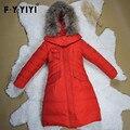 Chegam novas High-end Gola de Pele De Guaxinim Pato Branco Para Baixo Jaquetas Para Crianças Longo projeto Quente Meninas Casaco de Inverno 4-12 anos