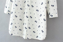 POPOKi Elegant white cotton blouse PLUS SIZE blue cat XL-4XL