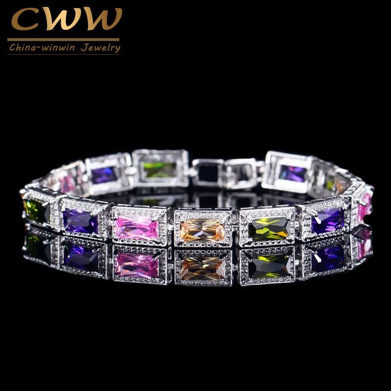 CWWZircons модные женские туфли свадебные браслет Серебряный Цвет Принцесса Cut площади Цирконий Кристалл Multi Цвет браслет CB097