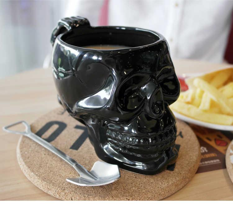 Preto 3D Crânio Criativo Caneca de Cerâmica Caneca de Café Grande Bebida Xícara de Água Presente do Dia Das Bruxas dos homens 420 ml Xícara de Café caneca do crânio