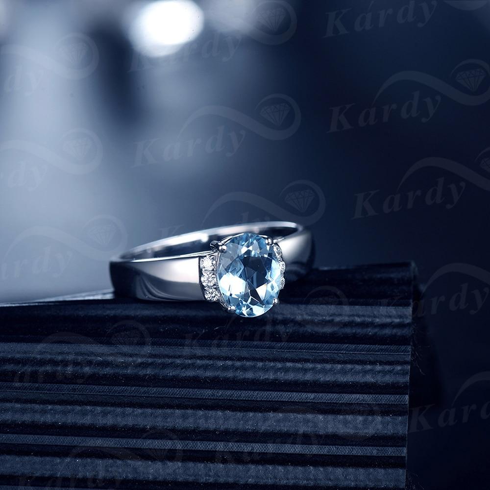Aigue-marine bleu naturel diamant solide 14K or blanc broche diamant mariage promesse de fiançailles bague ensemble pour les femmes - 3