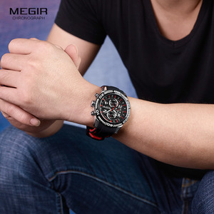 Image 4 - Megir reloj de cuarzo con batería y cronógrafo analógico para hombre, pulsera deportiva, brazalete de silicona negro, cronómetro, 2045G