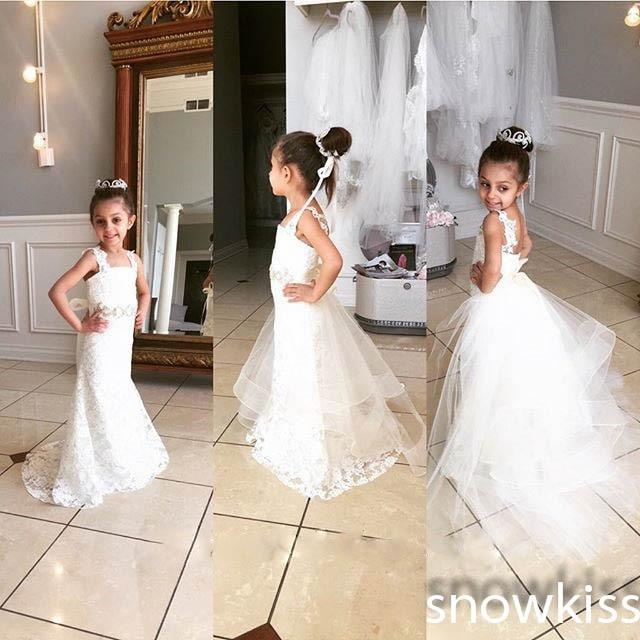 f5954fa764e03 Elegant white/ivory spaghetti straps lace mermaid flower girl dress  beautiful formal party wedding birthday