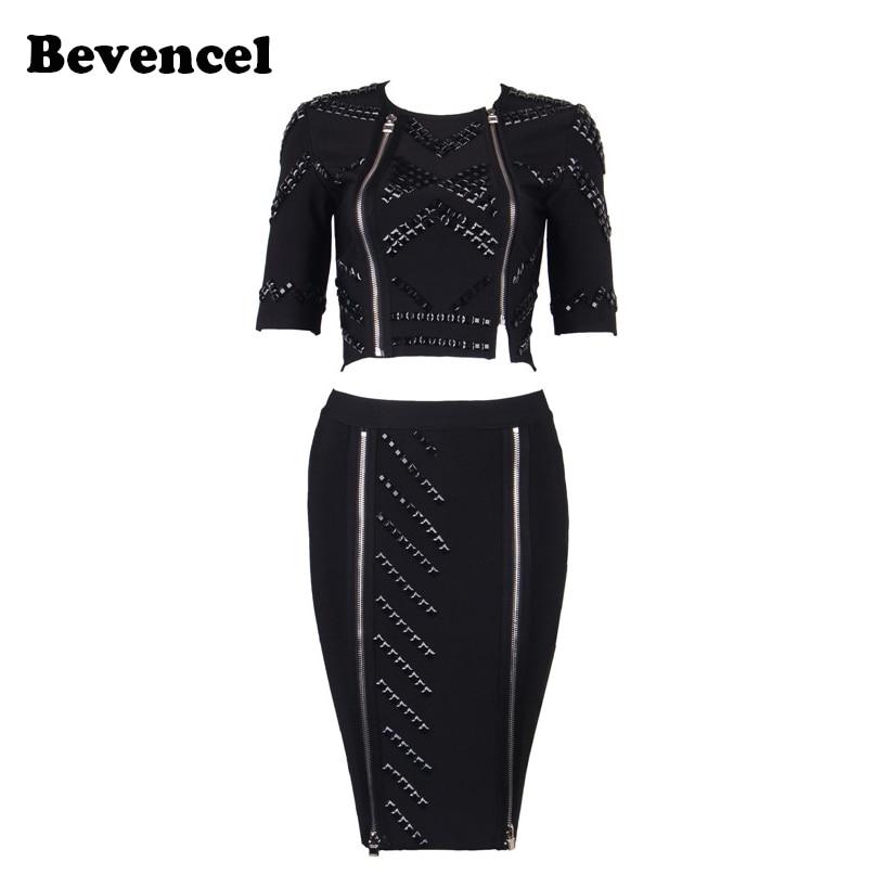 Bevencel 2018 new summer dress short sleeve beading black blue pink two 2 piece set party women bandage dress vestidos