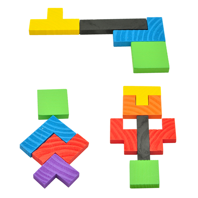 Wooden Tetris Game Educational Jigsaw Puzzle Toys Wood Tangram Brain Teaser Puzzle Preschool Children Kids Toys Christmas gifts in Puzzles from Toys Hobbies