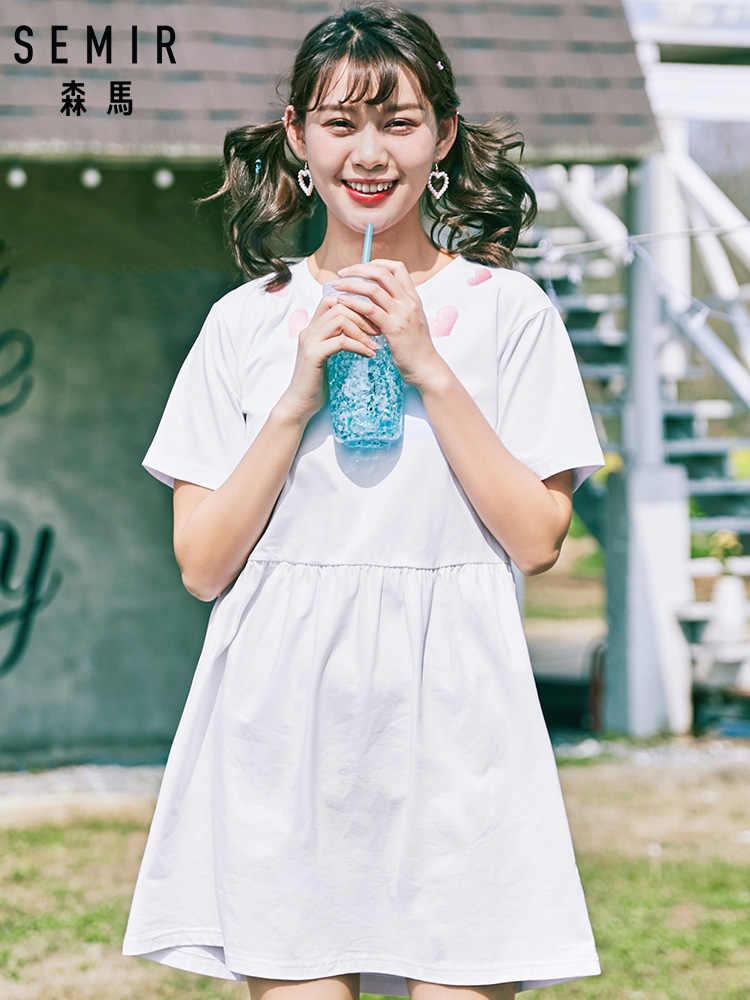 SEMIR Платье женское в наличии летнее платье с круглым вырезом и короткими рукавами Черно-белые полосатые платья Повседневные Элегантные с коротким рукавом тонкий D