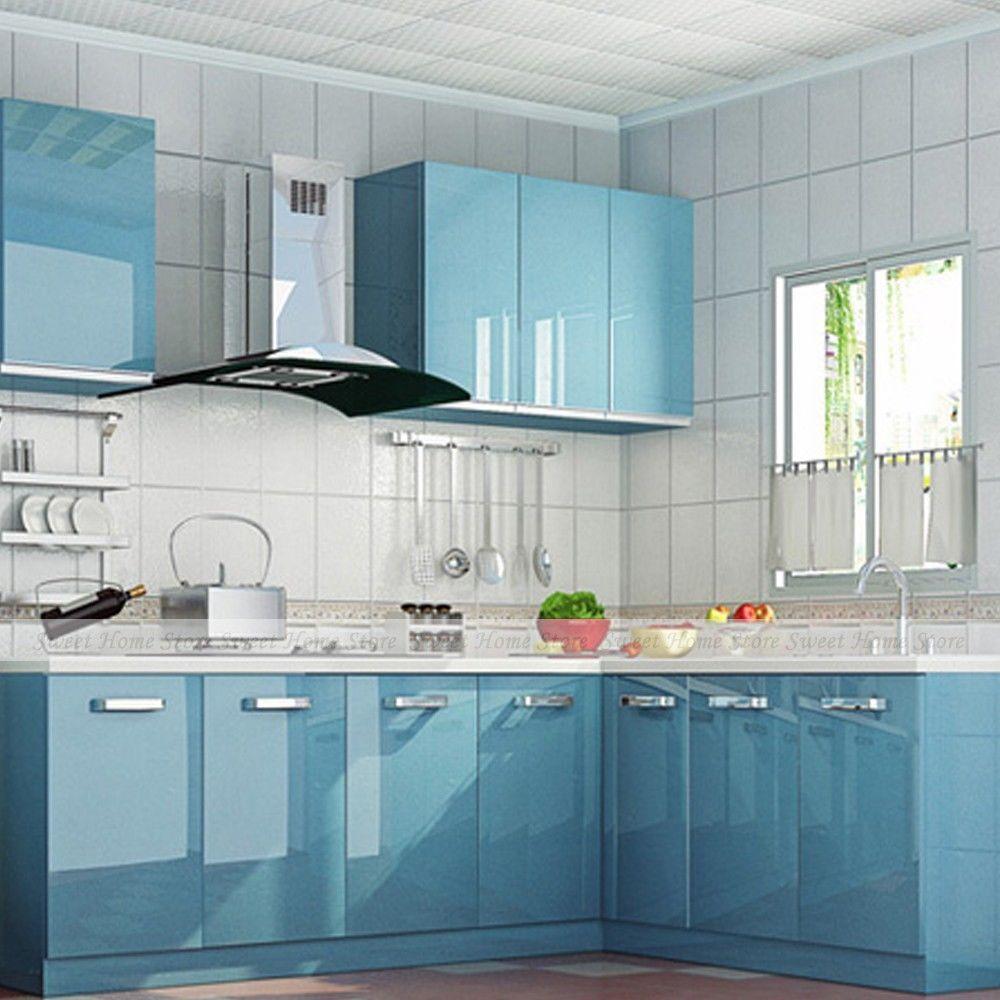 yazi Self-adhesive Wall Sticker Gloss Blue Kitchen Wardrobe Cupboard Door  Cover Waterproof Wallpaper