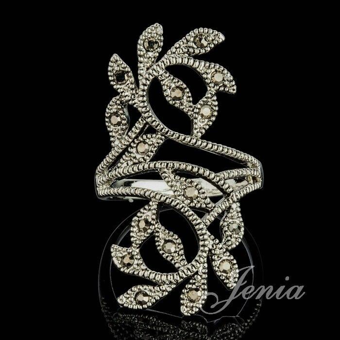 JENIA Hot Sale Antique Silver Color Black Marcasite Vintage Ring Leaf Design for Women XR231