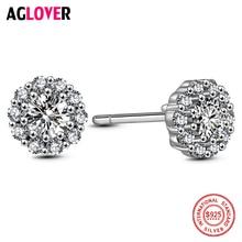 925 Silver Round Earrings Charm Woman AAA Crystal Zircon Flower Stud 100% Sterling Fashion Fine Jewelry