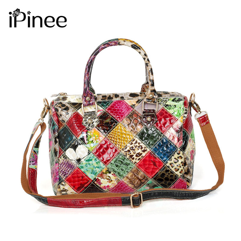 iPinee Fashion Bags Small Capacity Women Snake Pattern Leather Tote Handbags Shiny Color Block Lady Luxury Shoulder Bags new split leather snake skin pattern women trunker handbag high chic lady fashion modern shoulder bags madam seeks boutiquem2057