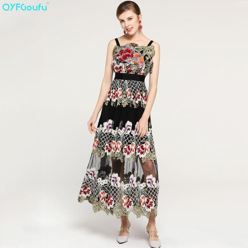 11c75342339e QYFCIOUFU 2019 verano tul bordado Maxi vestidos para mujer diseñador  pasarela vestido calidad moda ...