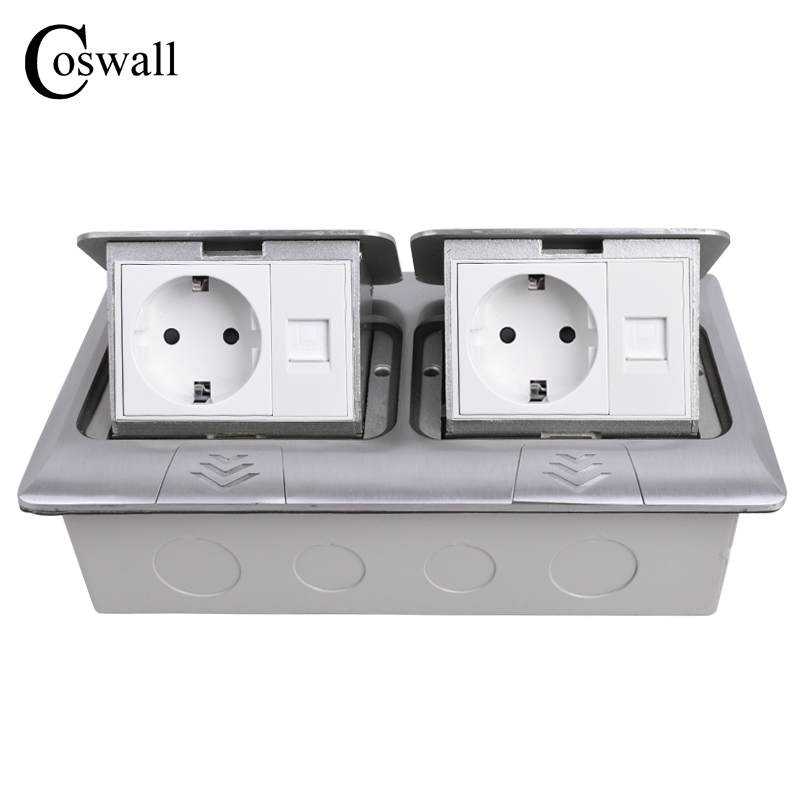 COSWALL All Aluminum Panel Pop Up Floor Socket EU Standard Power Double Outlet With Double RJ45 Internet Jack manufacturer all aluminum panel eu standard pop up floor socket single power outlet dual usb port page 2