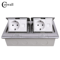 COSWALL All Aluminum Panel Pop Up Floor Socket EU Standard Power Double Outlet With Double RJ45 Internet Jack