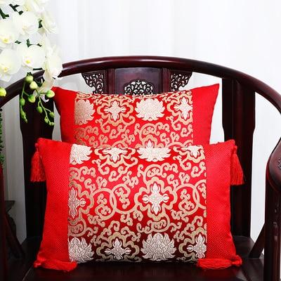 Классические Лоскутные цветочные шелковые наволочки для декоративных подушек подушечки высокого качества стул для дома офиса диванная подушка крышка - Цвет: Красный