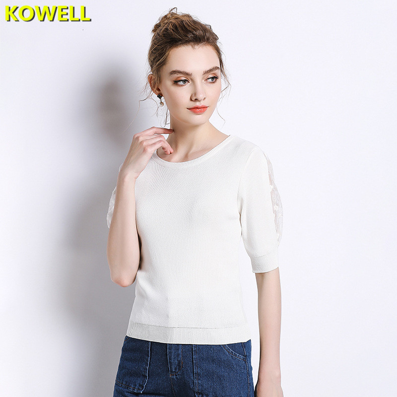 Hot Sale 2018 Womens Clothing Jumper Sweater Knitted Pullovers Summer Slim Half Puff Sleeve O-Neck Solid Color Lace Lady Clothes