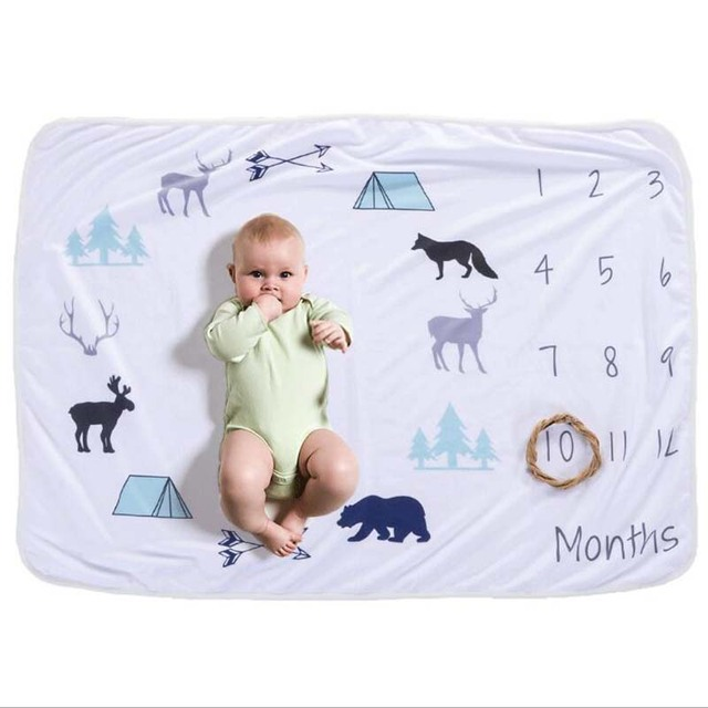 Recién Nacido Bebé/Infante rectángulo mensual hitos manta bebé ducha regalo para niño recuerdo mantas foto Prop 76X102 cm