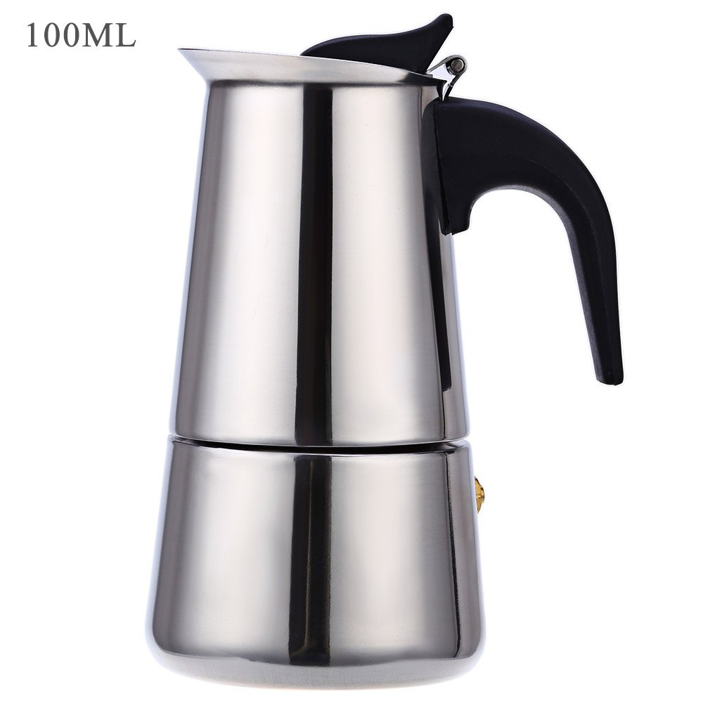 цены на Household 2 Cups 100ML Coffee Maker Pot Stainless Steel Espresso Latte Percolator Coffee Tea Pot with Plastic Handle Design Pot в интернет-магазинах