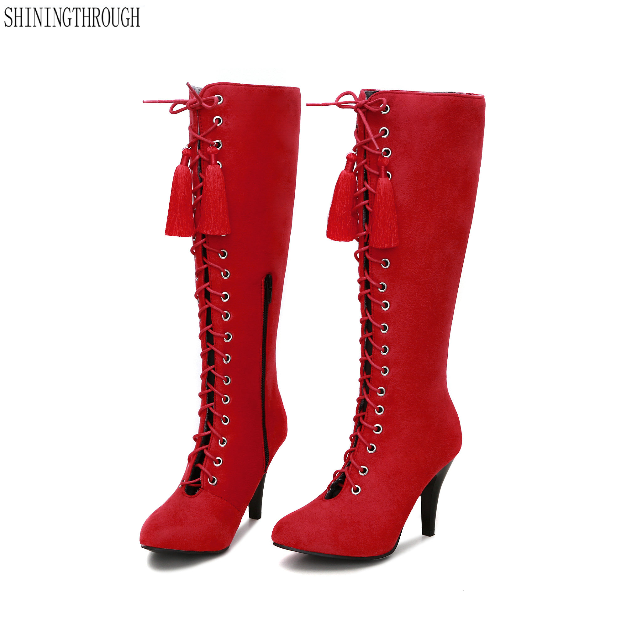 New thin high heels women Boots lace up tassel knee high boots ladies dress club dancing