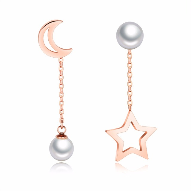Rose Gold Color Dangling Star And Moon Earrings Celestial Simple Asymmetrical In Stainless Steel