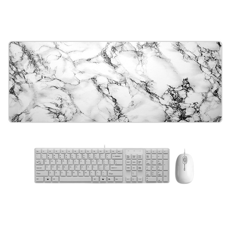 Large  Desk Pad Beautiful Soft Natural Rubber Pink Gold White marble Series Mice Pad Square Gaming Mouse Pad with Locking Edge (24)