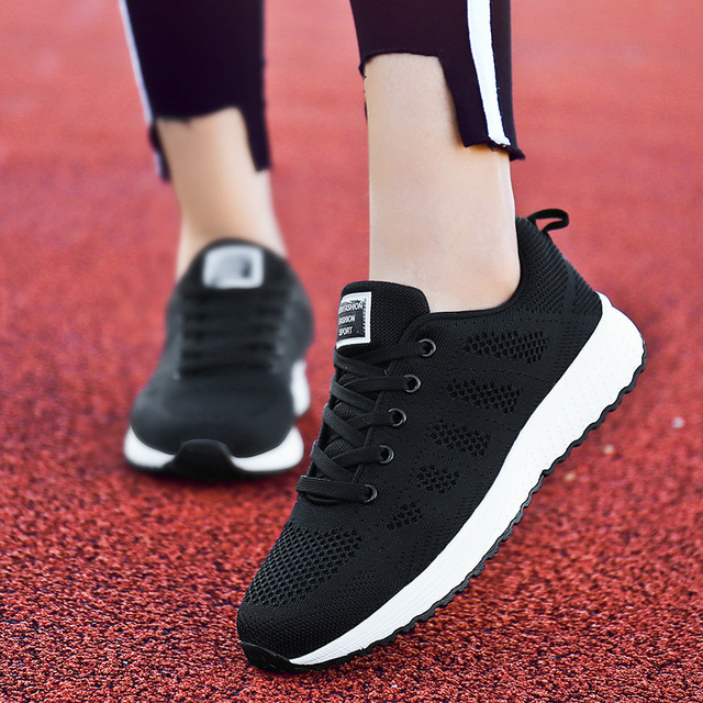 f339e6f82 NAUSK Fast Delivery Women Casual Shoes Fashion Breathable Walking Mesh Lace  Up Flat Shoes Sneakers Women 2018 Tenis Feminino