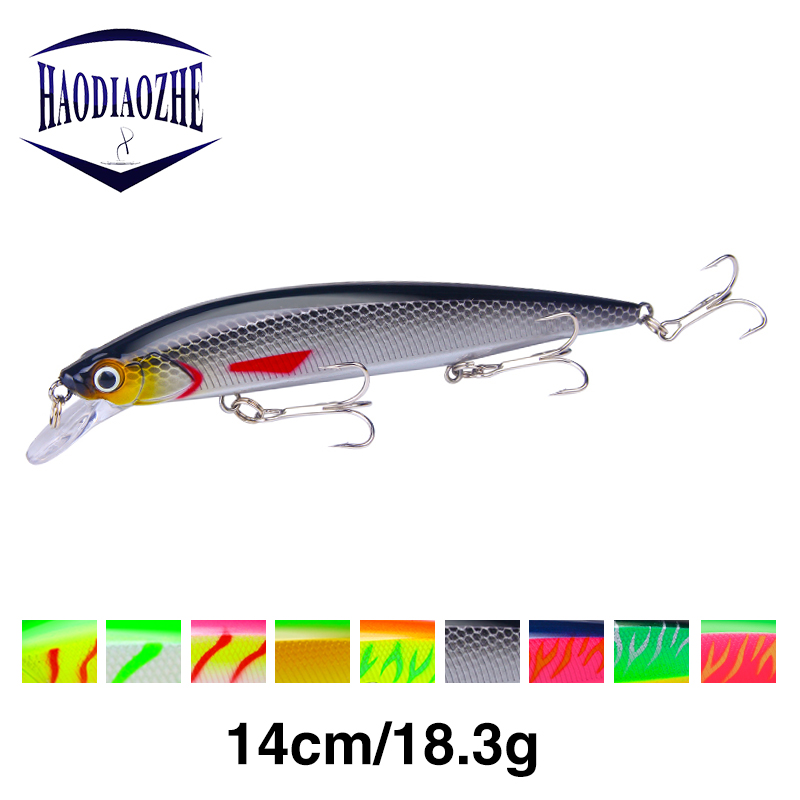 HAODIAOZHE Fishing Lure Minnow Black Crankbait Hard Baits Artificial Jerkbait Topwater Floating Wobblers Fish Pesca Tackle YU521